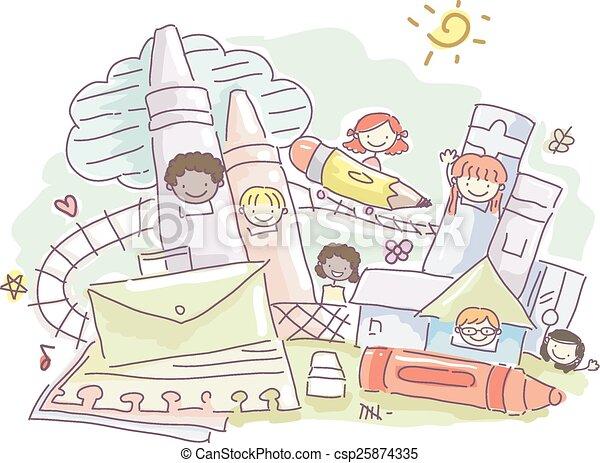 Stickman Kids Education - csp25874335