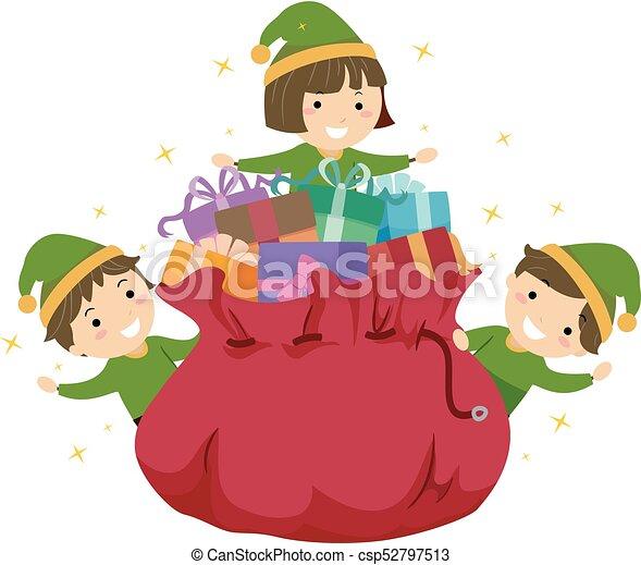 Stickman Kids Elf Gift Bag Illustration - csp52797513