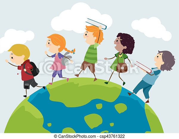 Stickman Kids Explore Earth Books - csp43761322