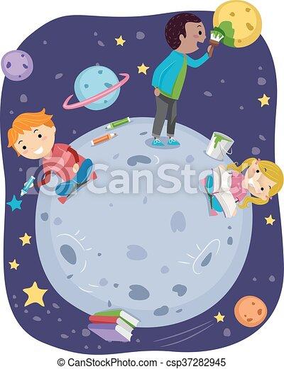Stickman Kids Explore Outer Space - csp37282945