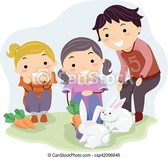 Stickman Kids Feeding Rabbits Stickman Illustration Of Kids In A