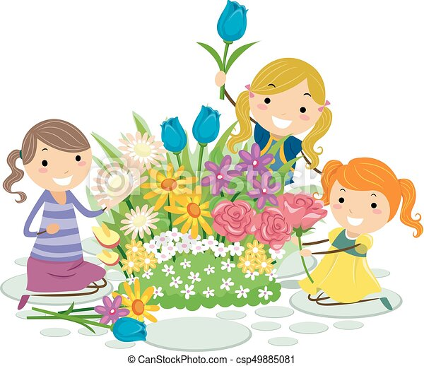 stickman kids flowers pick girls illustration drum majorette clipart Majorette Dancer Clip Art