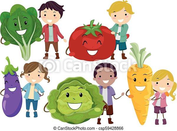 Stickman Kids Fruits Veggies Mascot Illustration Illustration Of