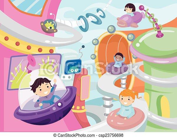 Stickman Kids Future City - csp23756698