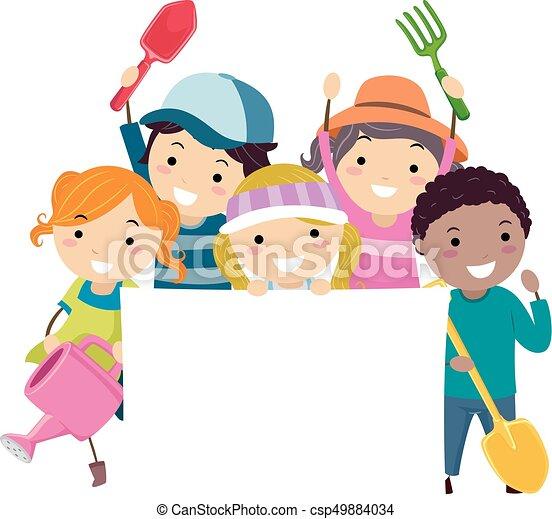 Stickman kids garden tools banner illustration Illustration of