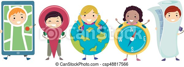 Stickman Kids Geography Costumes Illustration - csp48817566