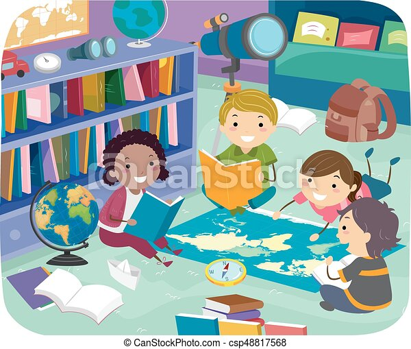 Stickman Kids Geography Reading Room Illustration - csp48817568