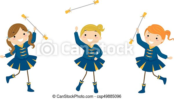 stickman kids girls majorette exhibition illustration of eps rh canstockphoto com majorette clipart majorette clipart free