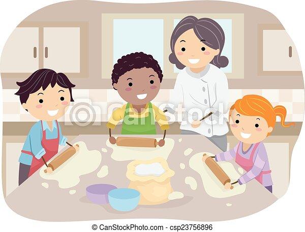 Stickman Kids Homemade Pizza - csp23756896