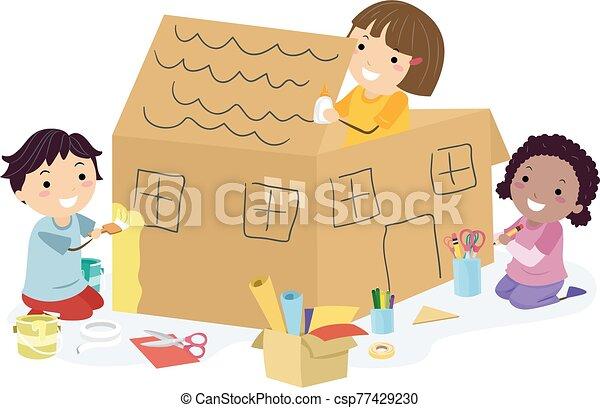 Stickman Kids House Big Box Craft - csp77429230