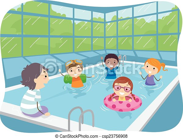 Stickman kids indoor swimming pool illustration of kids for Swimming pool drawing