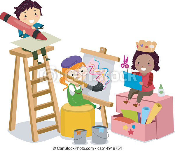 Stickman Kids Making Arts And Crafts Vector