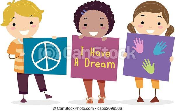 Stickman Kids Martin Luther King Illustration Illustration Of