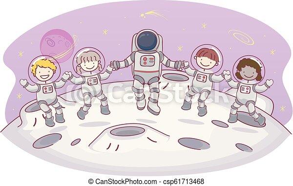 Stickman Kids Moon Astronaut Space Illustration - csp61713468