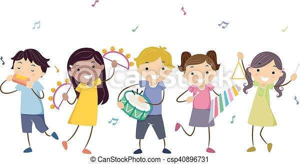 Stickman Kids Musical Instruments - csp40896731
