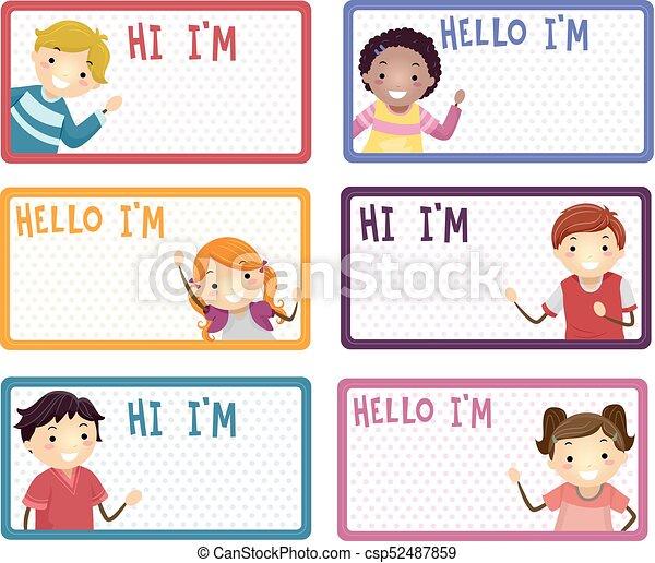 stickman kids name labels illustration illustration of name labels