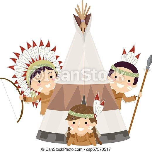 stickman kids native american tent illustration