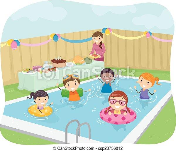 Stickman kids pool party illustration of kids having a - Clipart piscine ...