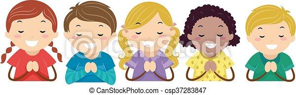 Stickman Kids Praying - csp37283847