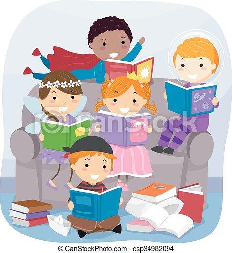 Stickman Kids Reading Fantasy Books - csp34982094