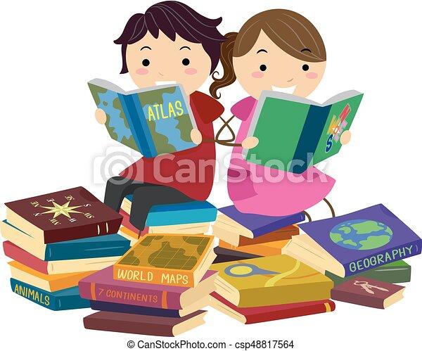 Stickman Kids Reading Geography Books - csp48817564