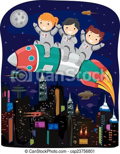 Stickman Kids Rocket Cyberpunk - csp23756801