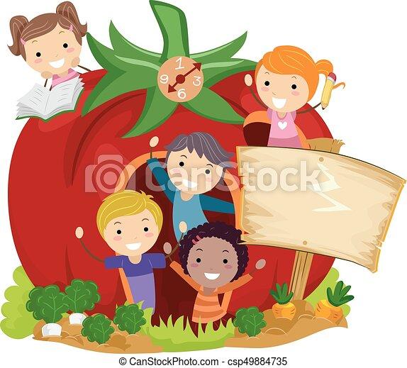 Stickman Kids School Garden Tomato Illustration