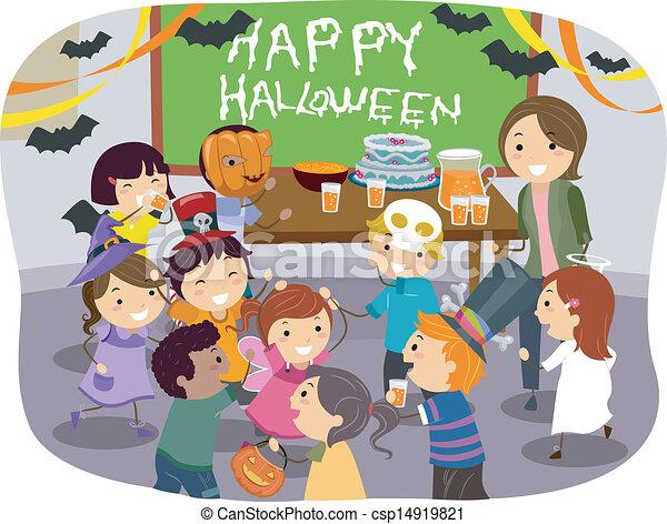 Stickman Kids School Halloween Party