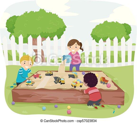 Stickman Kids Sensory Sand Box Illustration - csp57023834