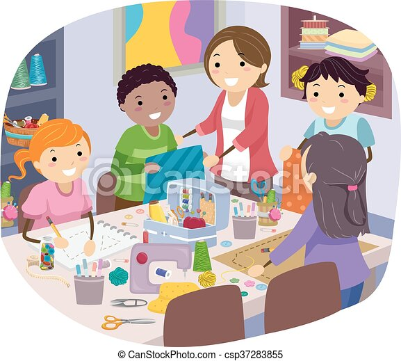 stickman kids sewing class stickman illustration of kids art easel clip art to color Art Palette Clip Art