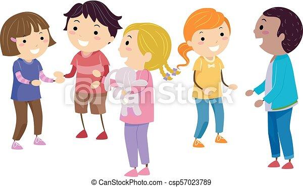 Stickman Kids Social Skills Illustration - csp57023789