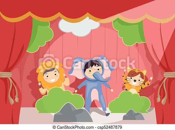 Stickman Kids Stage Animal Role Play Illustration - csp52487879