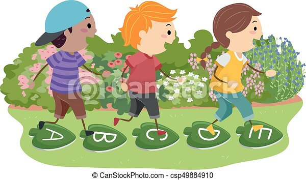 Stickman Kids Stepping Stones Leaves Illustration - csp49884910