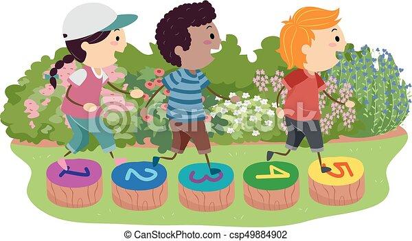Stickman Kids Stepping Stones Illustration - csp49884902