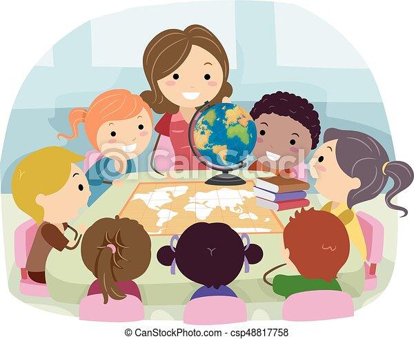 stickman kids teacher geography class illustration an