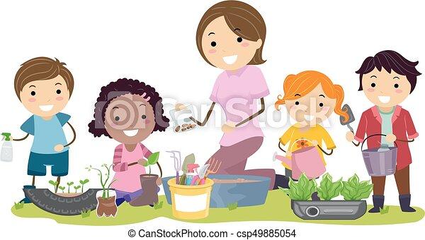 Stickman Kids Teacher Recycle Gardening