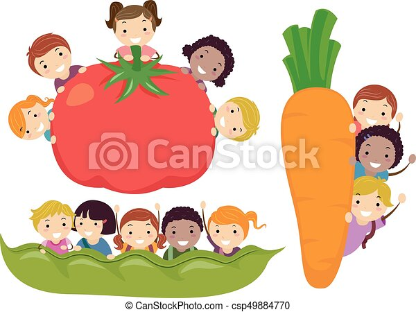 Stickman Kids Vegetable Border Illustration - csp49884770