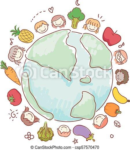 Stickman Kids Vegetables Fruits Earth Illustration