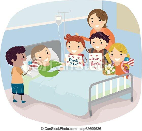 Stickman Kids Visit Veteran Hospital Illustration Illustration Of