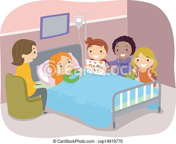 Stickman-Kinder besuchen einen Patienten in einem Krankenhaus - csp14919770
