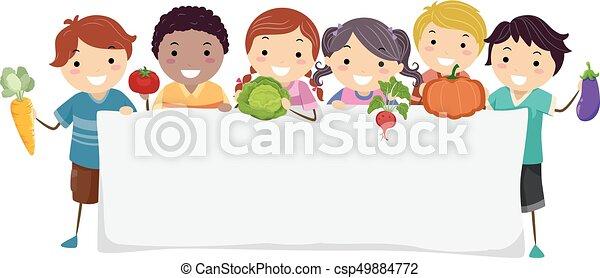 stickman, légumes, gosses, bannière, illustration - csp49884772