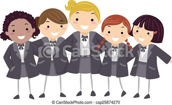 stickman, meninas, inverno, uniforme - csp25874270