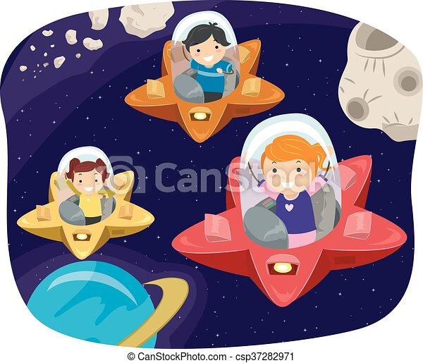 stickman, nave, bambini, stella - csp37282971