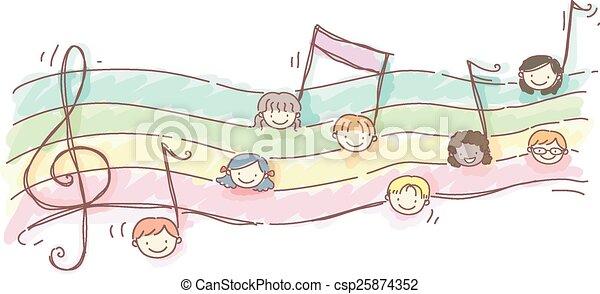 Stickman, niños, hoja de música. Niños, stickman, notas, ilustración ...