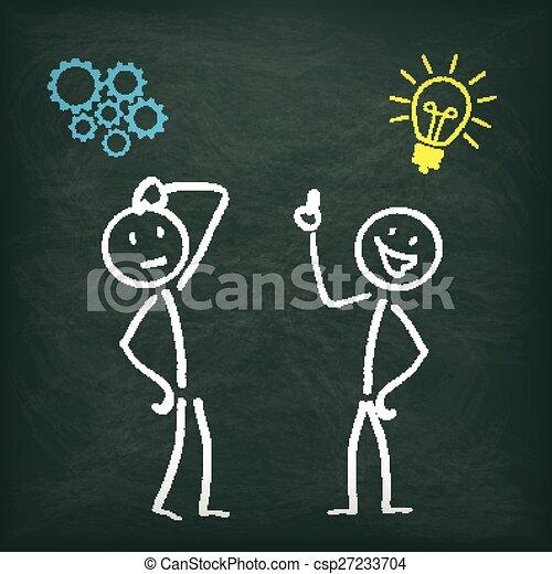 stickman, pensare, lavagna, 2, idea - csp27233704