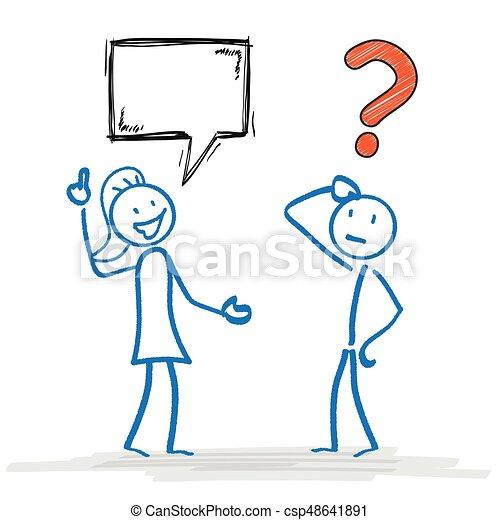 stickman, problema, stickwoman, comunicazione - csp48641891