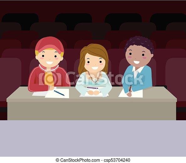 Stickman Teens Audition Judges Illustration - csp53704240