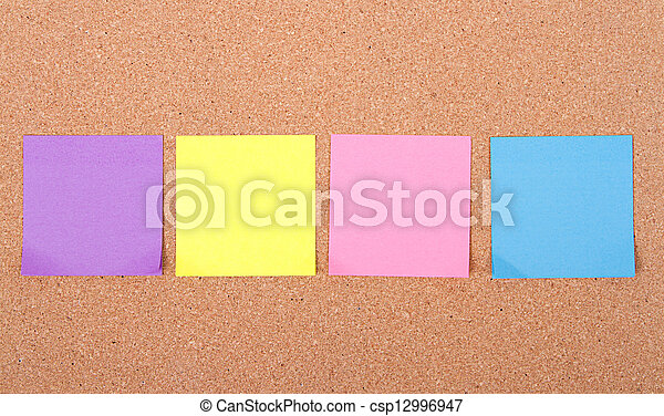 sticky notes on a bulletin board - csp12996947