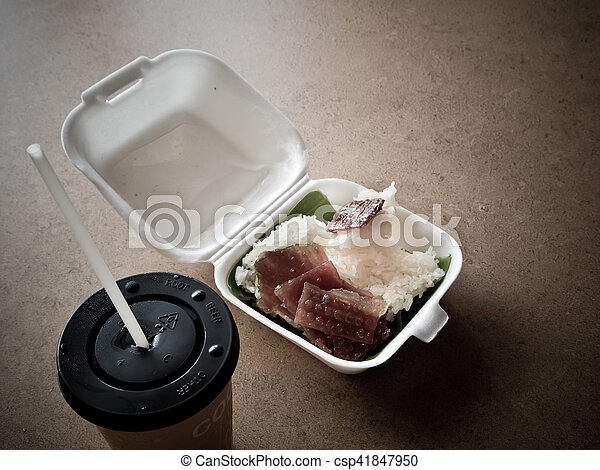 Sticky rice and Roast pork in foam box - csp41847950