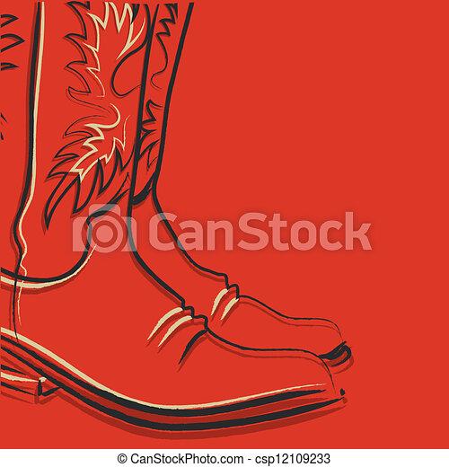 stiefeln, roter hintergrund, cowboy - csp12109233